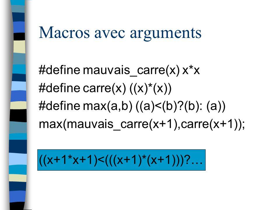 Macros avec arguments #define mauvais_carre(x) x*x #define carre(x) ((x)*(x)) #define max(a,b) ((a)<(b)?(b): (a)) max(mauvais_carre(x+1),carre(x+1));