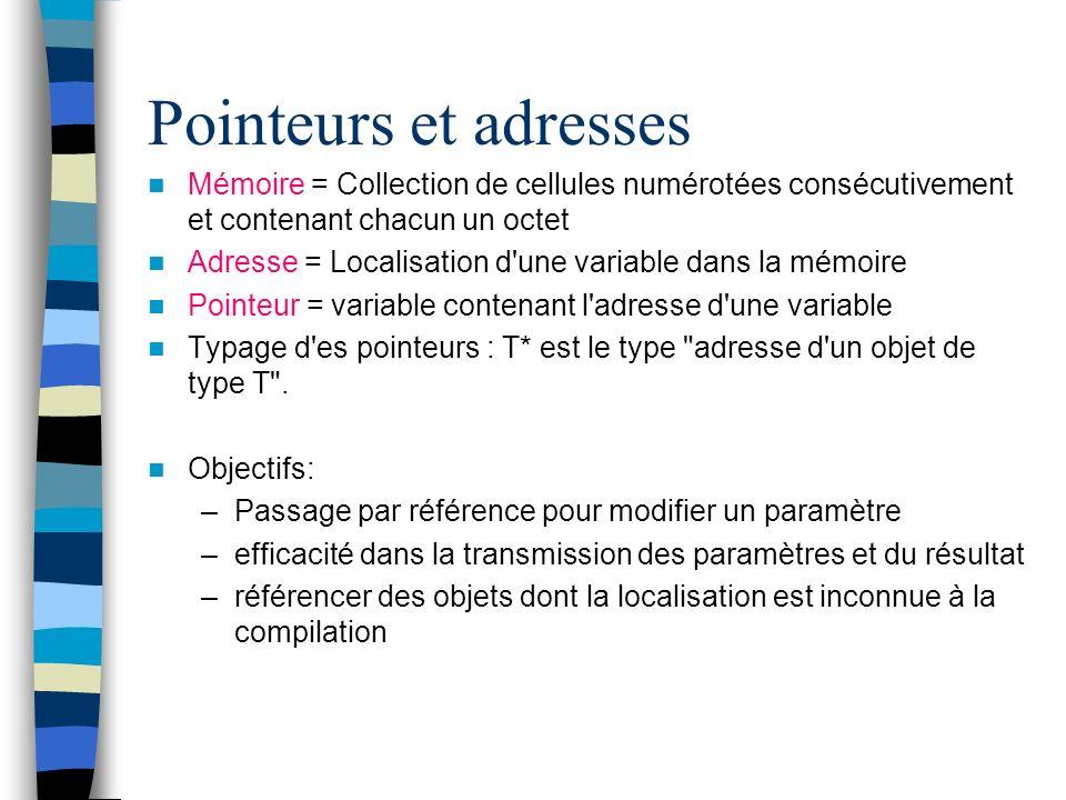 Pointeurs et adresses Mémoire = Collection de cellules numérotées consécutivement et contenant chacun un octet Adresse = Localisation d'une variable d