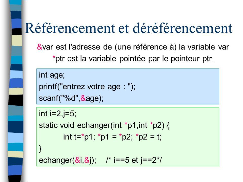 Référencement et déréférencement &var est l'adresse de (une référence à) la variable var *ptr est la variable pointée par le pointeur ptr. int age; pr