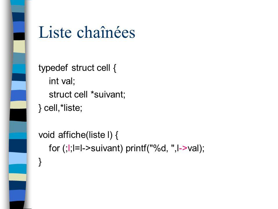 Liste chaînées typedef struct cell { int val; struct cell *suivant; } cell,*liste; void affiche(liste l) { for (;l;l=l->suivant) printf(