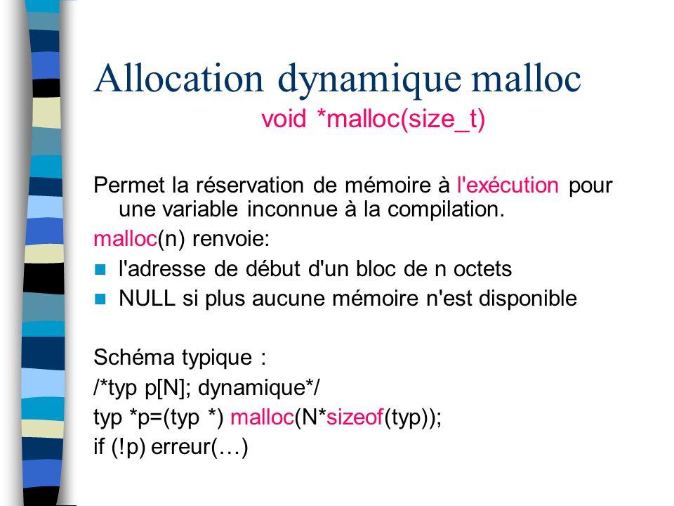 Allocation dynamique malloc void *malloc(size_t) Permet la réservation de mémoire à l'exécution pour une variable inconnue à la compilation. malloc(n)