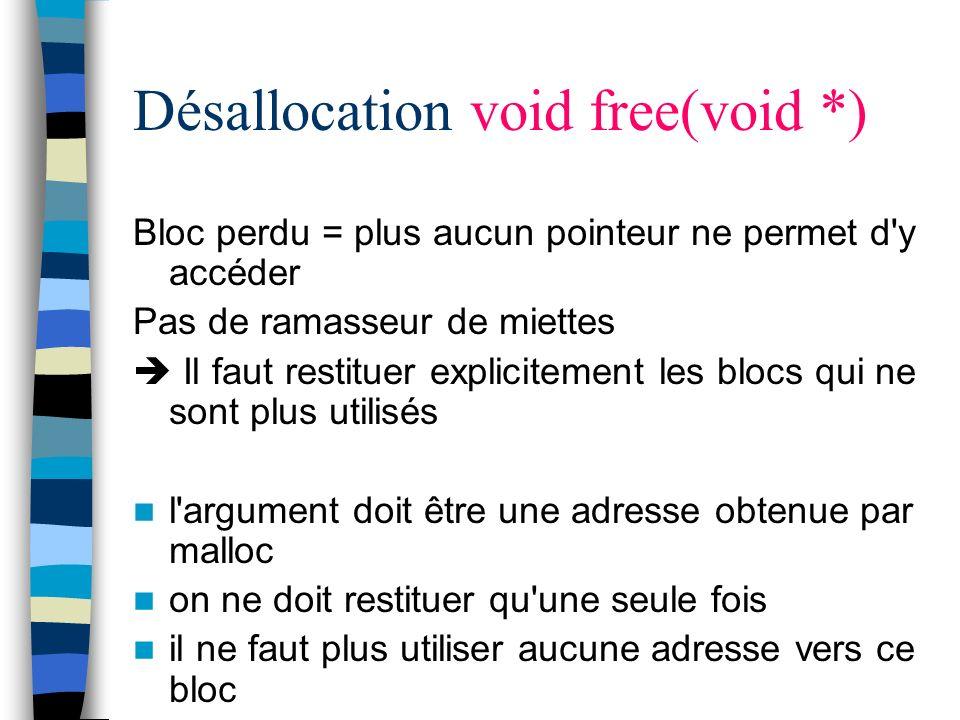 Désallocation void free(void *) Bloc perdu = plus aucun pointeur ne permet d'y accéder Pas de ramasseur de miettes Il faut restituer explicitement les