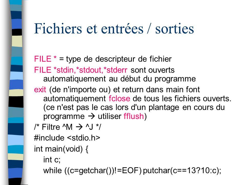 Fichiers et entrées / sorties FILE * = type de descripteur de fichier FILE *stdin,*stdout,*stderr sont ouverts automatiquement au début du programme e