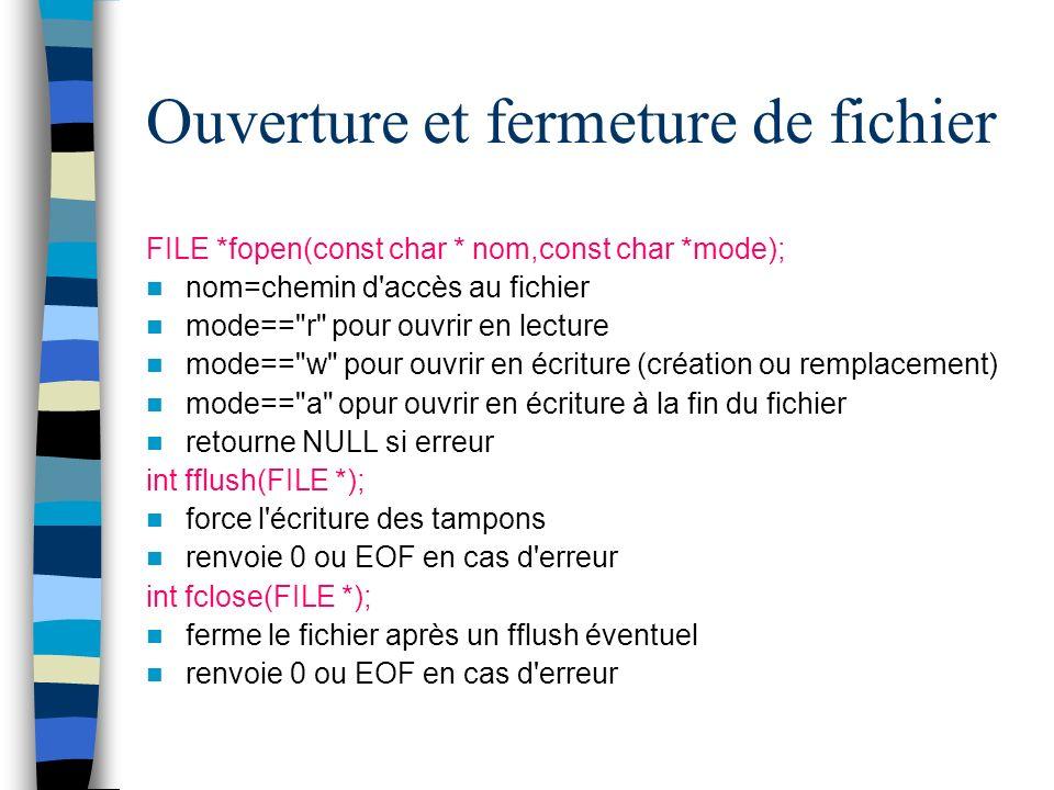 Ouverture et fermeture de fichier FILE *fopen(const char * nom,const char *mode); nom=chemin d'accès au fichier mode==
