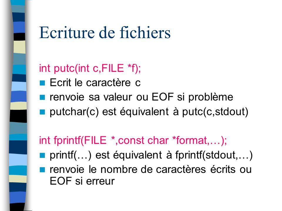 Ecriture de fichiers int putc(int c,FILE *f); Ecrit le caractère c renvoie sa valeur ou EOF si problème putchar(c) est équivalent à putc(c,stdout) int