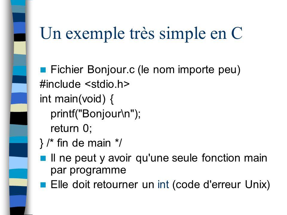 Un exemple très simple en C Fichier Bonjour.c (le nom importe peu) #include int main(void) { printf(