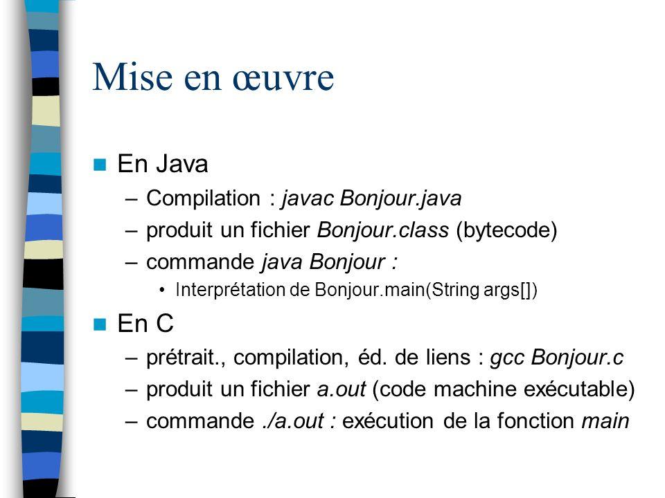 Mise en œuvre En Java –Compilation : javac Bonjour.java –produit un fichier Bonjour.class (bytecode) –commande java Bonjour : Interprétation de Bonjou