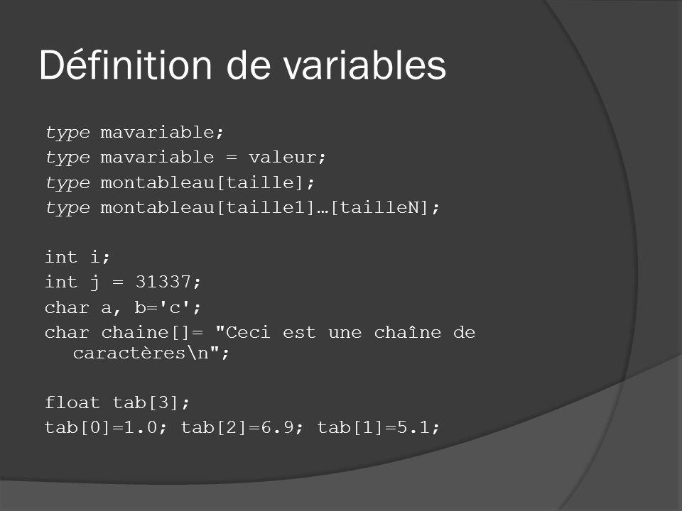 Définition de variables type mavariable; type mavariable = valeur; type montableau[taille]; type montableau[taille1]…[tailleN]; int i; int j = 31337; char a, b= c ; char chaine[]= Ceci est une chaîne de caractères\n ; float tab[3]; tab[0]=1.0; tab[2]=6.9; tab[1]=5.1;
