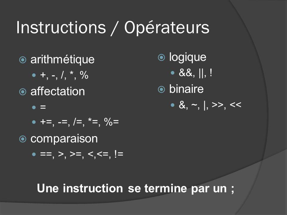 Instructions / Opérateurs arithmétique +, -, /, *, % affectation = +=, -=, /=, *=, %= comparaison ==, >, >=, <,<=, != logique &&, ||, .