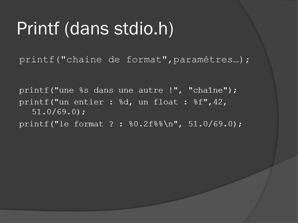 Printf (dans stdio.h) printf( chaine de format ,paramètres…); printf( une %s dans une autre ! , chaîne ); printf( un entier : %d, un float : %f ,42, 51.0/69.0); printf( le format .