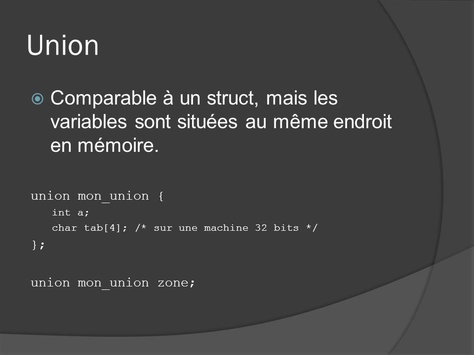 Union Comparable à un struct, mais les variables sont situées au même endroit en mémoire.