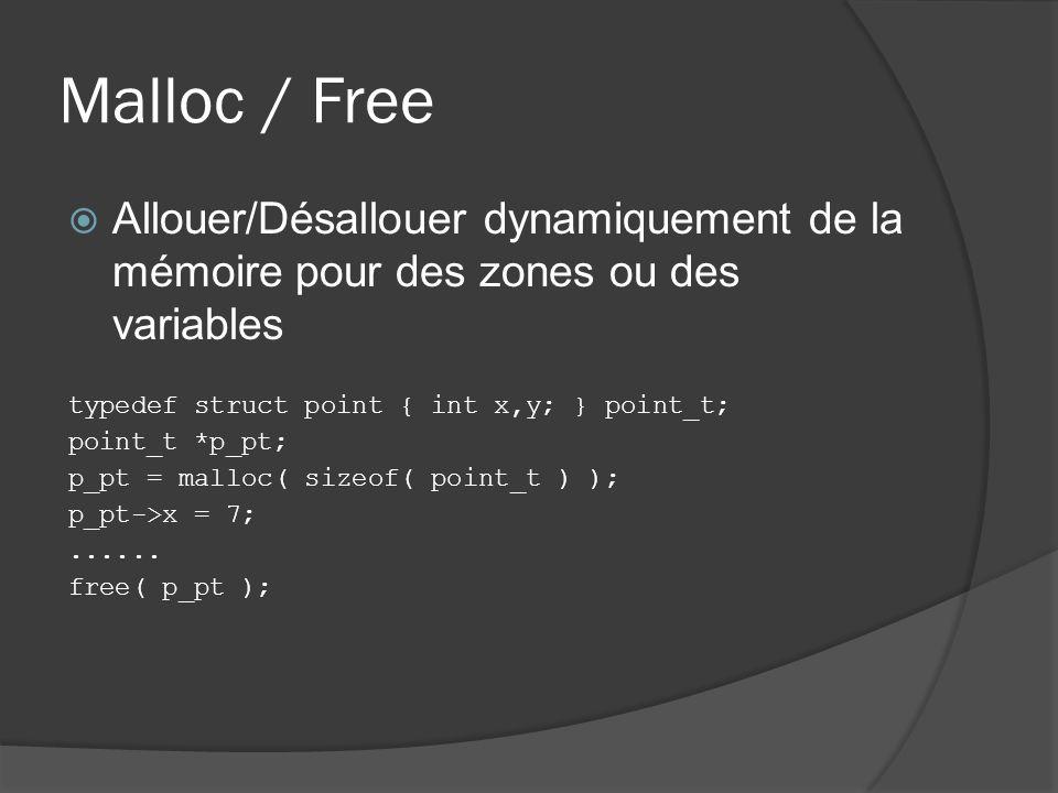 Malloc / Free Allouer/Désallouer dynamiquement de la mémoire pour des zones ou des variables typedef struct point { int x,y; } point_t; point_t *p_pt; p_pt = malloc( sizeof( point_t ) ); p_pt->x = 7;......