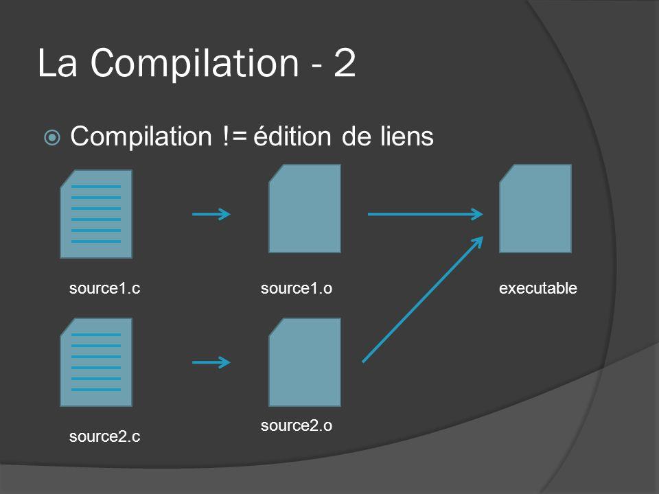 La Compilation - 2 Compilation != édition de liens source1.c source1.o source2.c source2.o executable