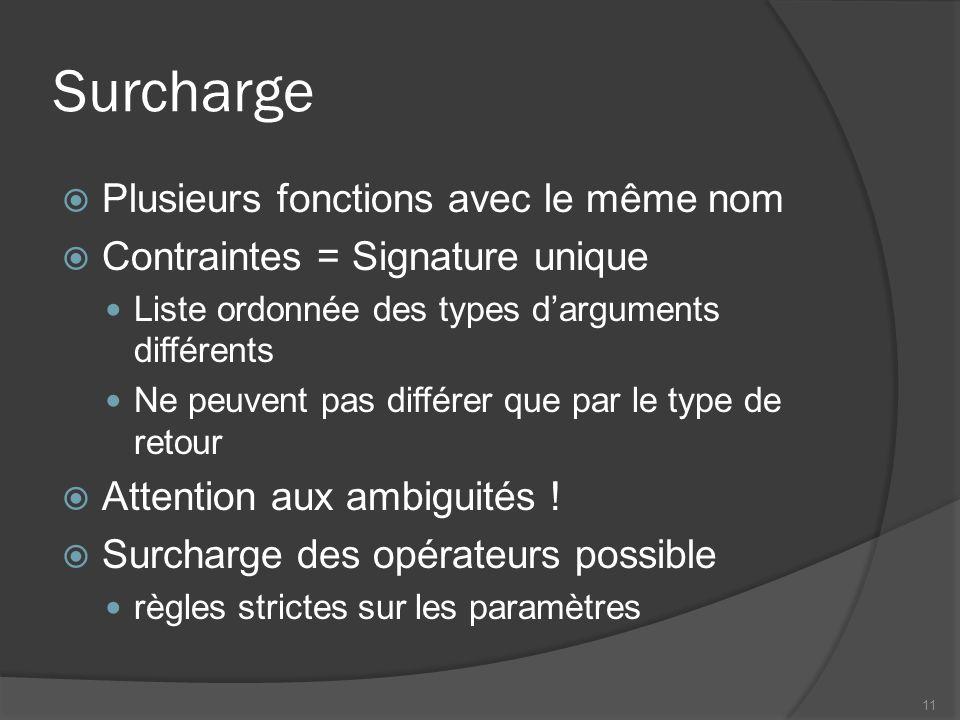 Surcharge Plusieurs fonctions avec le même nom Contraintes = Signature unique Liste ordonnée des types darguments différents Ne peuvent pas différer q
