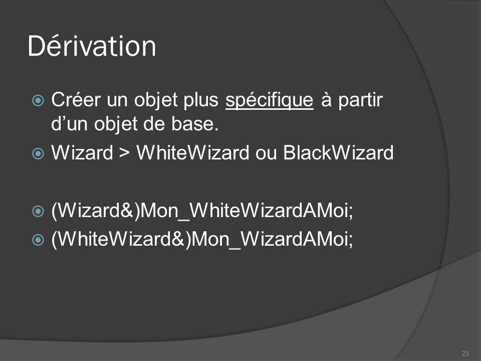 Dérivation Créer un objet plus spécifique à partir dun objet de base. Wizard > WhiteWizard ou BlackWizard (Wizard&)Mon_WhiteWizardAMoi; (WhiteWizard&)