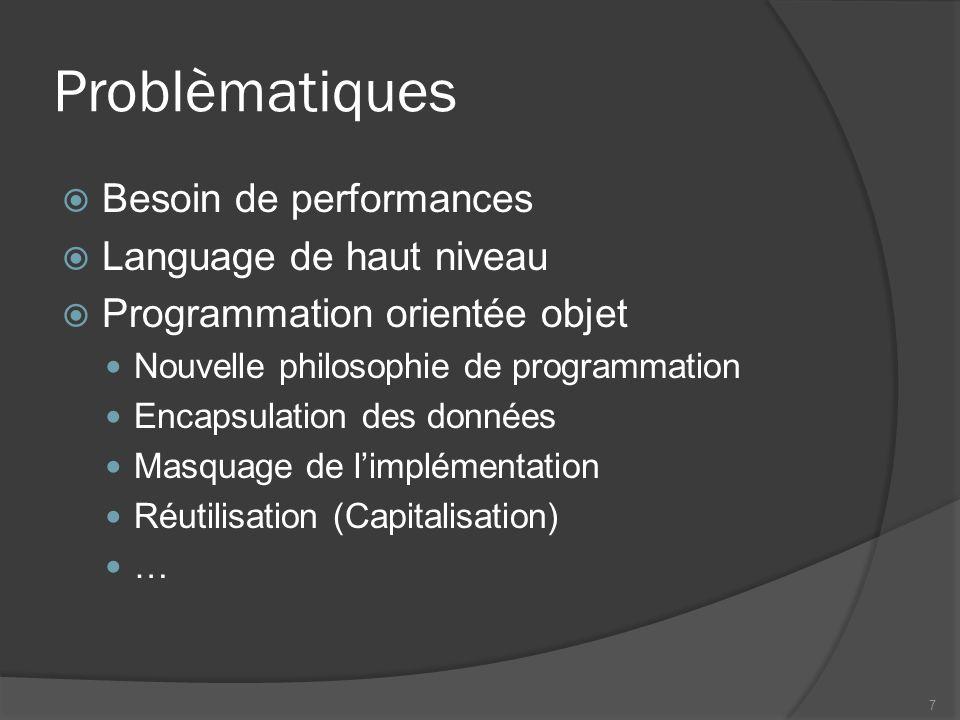 Problèmatiques Besoin de performances Language de haut niveau Programmation orientée objet Nouvelle philosophie de programmation Encapsulation des données Masquage de limplémentation Réutilisation (Capitalisation) … 7
