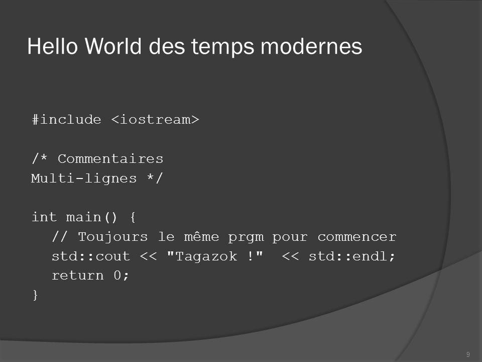 Hello World des temps modernes #include /* Commentaires Multi-lignes */ int main() { // Toujours le même prgm pour commencer std::cout <<