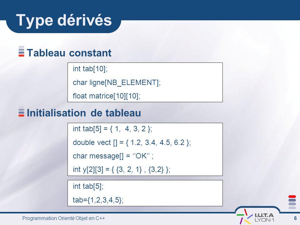 Programmation Orienté Objet en C++ 7 Pointeur Une pointeur est le type dune variable contenant ladresses dun objet… int a ; a=3; 3 123457 int* p ; p= &a; 123456 123457 123458 123460 123459 123470 float int int*