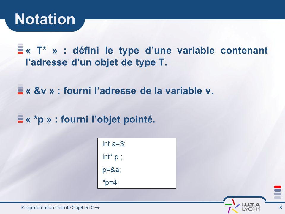 Programmation Orienté Objet en C++ 9 Tableau dynamique Allocation Utilisation Destruction int *p = new int; int *tab = new int[12]; delete p; delete[] tab; *p=3; tab[0]=2; tab[1]=3; *(tab+1)=4;
