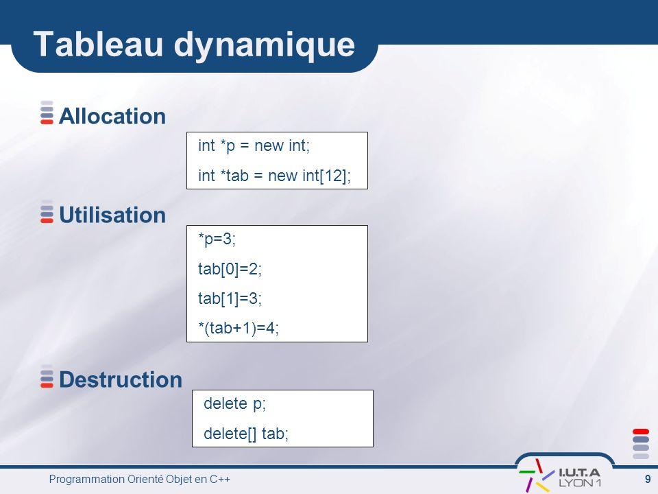 Programmation Orienté Objet en C++ 10 Type défini par lutilisateur Structure Union strurct Personne { char nom[50]; short age; } Personne moi ={ Julien, 3 }; Personne *p = &moi; moi.age = 25; cout << moi.nom << a << moi.age ; union nombre { int i; float x; double x2; }