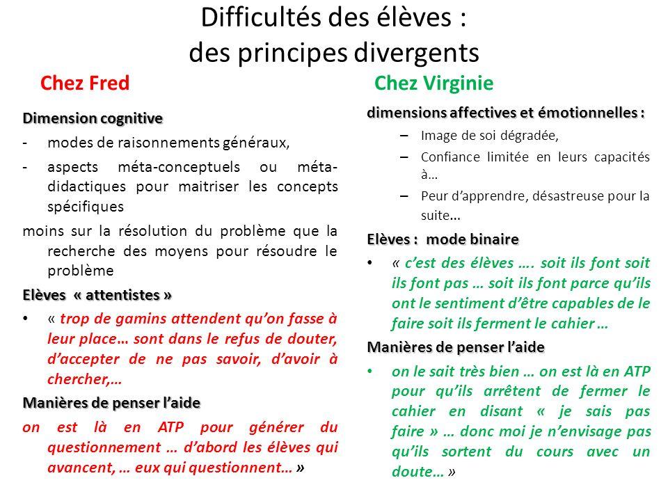 Difficultés des élèves : des principes divergents Chez Fred Dimension cognitive -modes de raisonnements généraux, -aspects méta-conceptuels ou méta- d