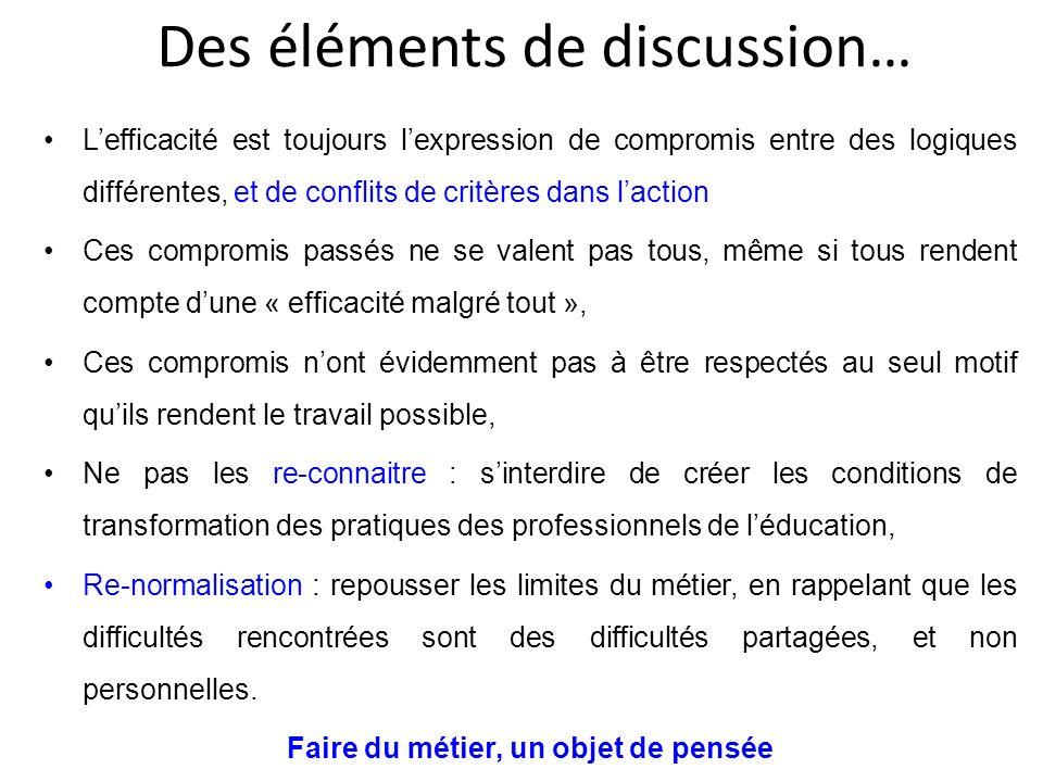 Des éléments de discussion… Lefficacité est toujours lexpression de compromis entre des logiques différentes, et de conflits de critères dans laction