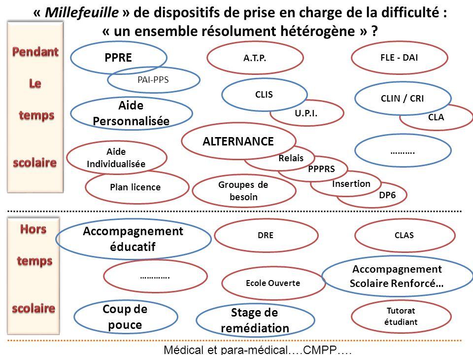 Plan licence PAI-PPS DP6 Insertion PPPRS Relais ALTERNANCE A.T.P.FLE - DAI Aide Personnalisée Accompagnement éducatif DRECLAS Coup de pouce Ecole Ouve