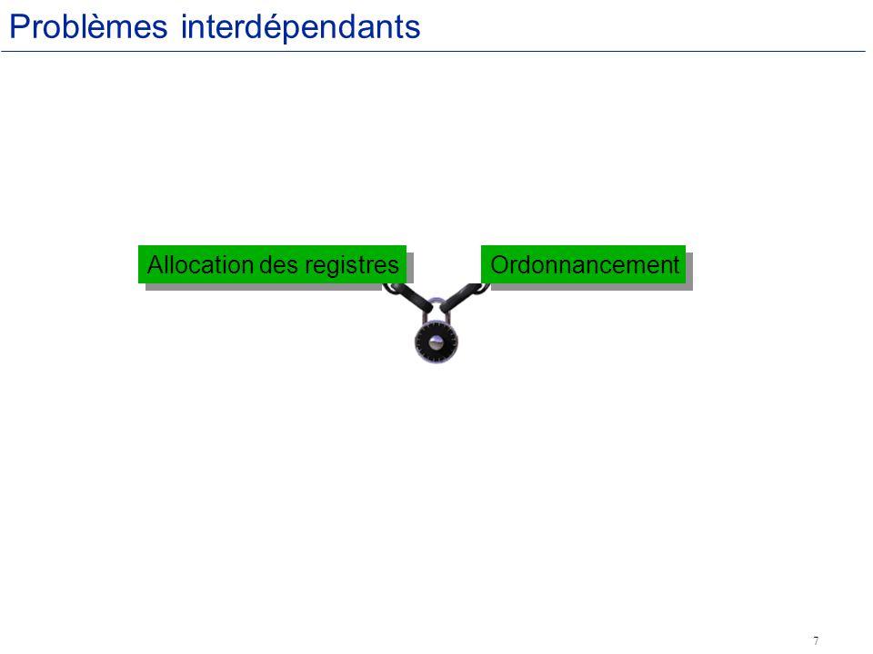 7 Problèmes interdépendants Allocation des registres Ordonnancement