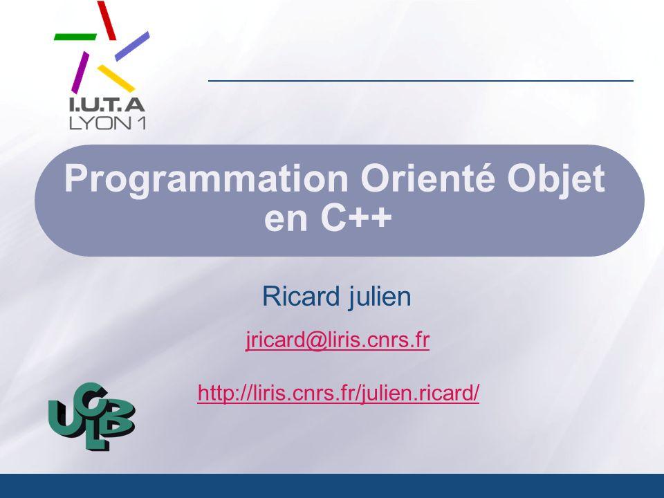 Programmation Orienté Objet en C++ 12 Entrée sortie Nouvelle librairie C++ : #include Commentaires printf( bonjours a tous \n); printf( i= %d \n,i); printf( f= %f \n,f); printf( c= %c \n,c); printf( s= %s \n,s); printf( f= %f \n,f); scanf(%d,&i); scanf(%f,&f); scanf(%c,&c); scanf(%s,&s) cout << bonjour a tous !!.