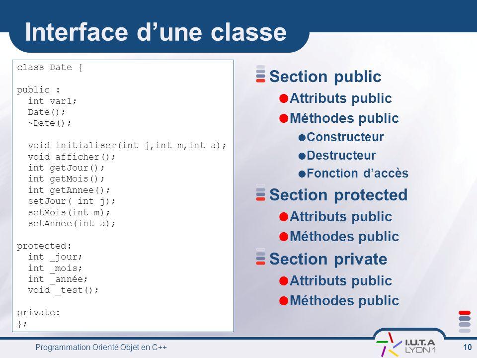 Programmation Orienté Objet en C++ 10 Interface dune classe Section public Attributs public Méthodes public Constructeur Destructeur Fonction daccès S