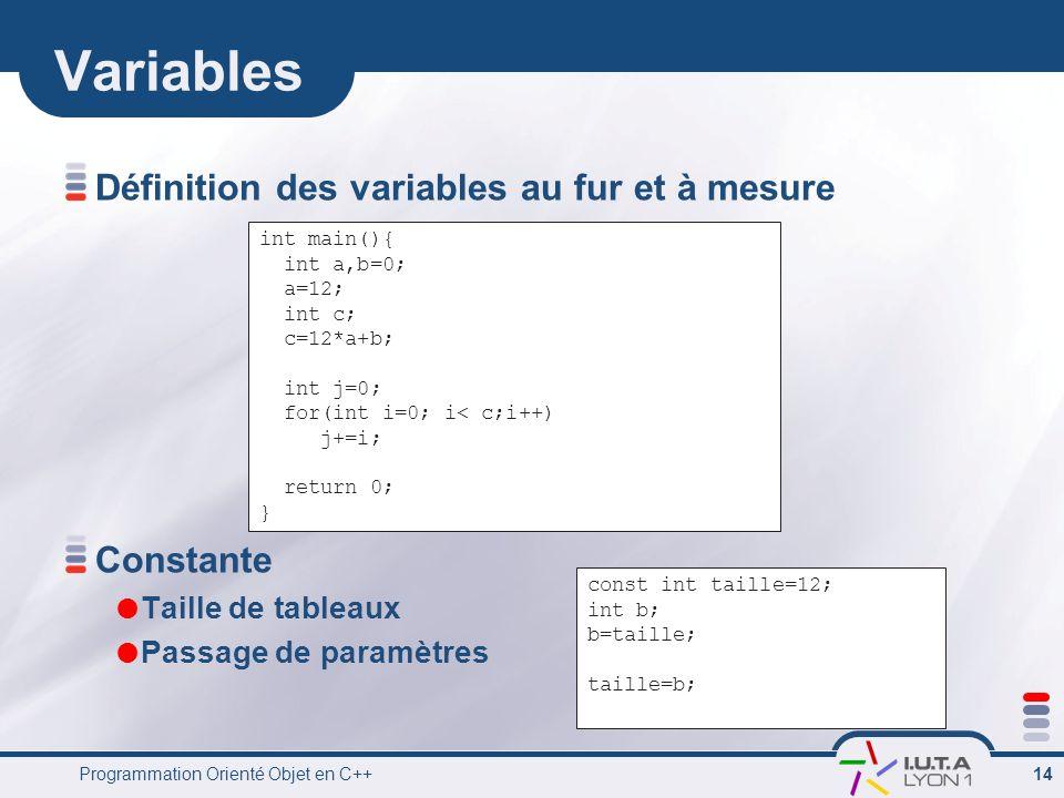 Programmation Orienté Objet en C++ 14 Variables Définition des variables au fur et à mesure Constante Taille de tableaux Passage de paramètres int mai