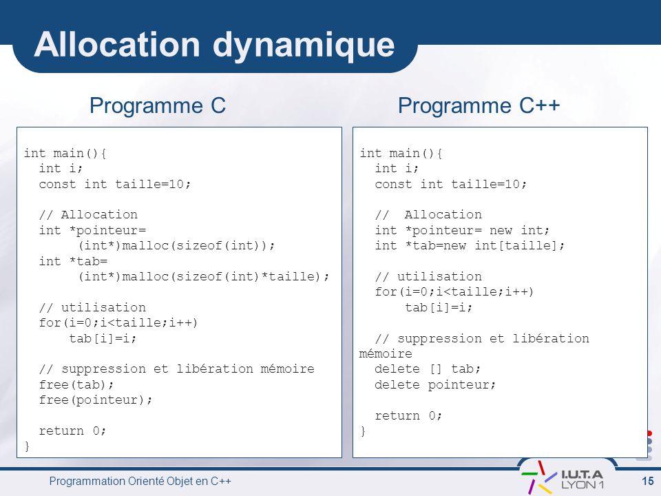 Programmation Orienté Objet en C++ 15 Allocation dynamique int main(){ int i; const int taille=10; // Allocation int *pointeur= (int*)malloc(sizeof(in