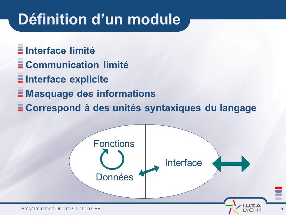 Programmation Orienté Objet en C++ 5 Définition dun module Interface limité Communication limité Interface explicite Masquage des informations Corresp