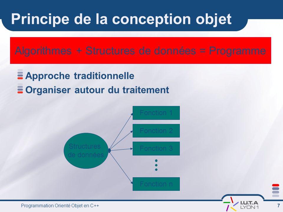 Programmation Orienté Objet en C++ 8 La conception objets Organiser autour des données à manipuler Données Fonctions de manipulations et de traitements Objet