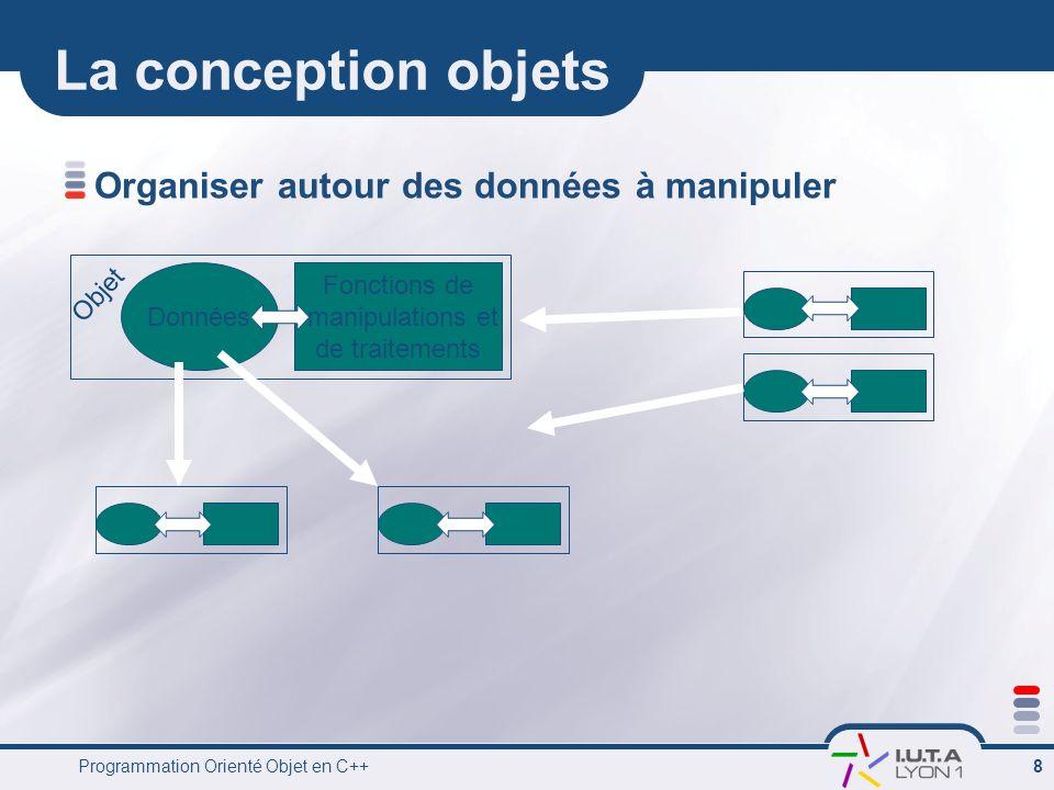 Programmation Orienté Objet en C++ 8 La conception objets Organiser autour des données à manipuler Données Fonctions de manipulations et de traitement