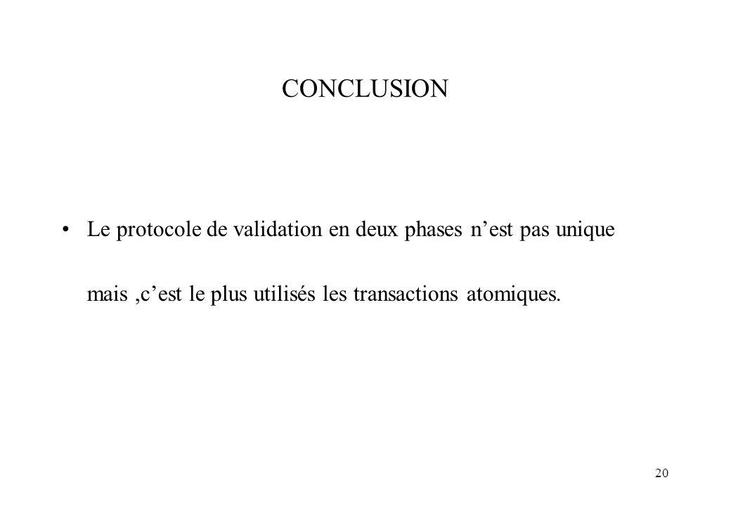 20 CONCLUSION Le protocole de validation en deux phases nest pas unique mais,cest le plus utilisés les transactions atomiques.