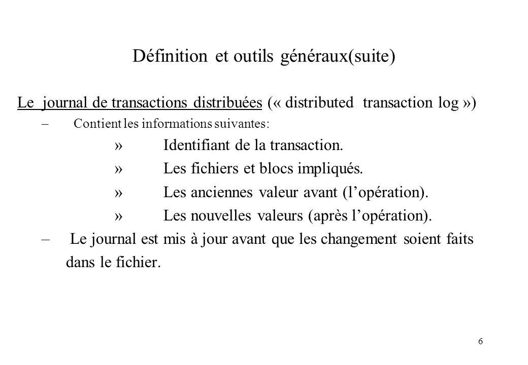 7 Exemple de journalisation Exemple de transaction utilisant deux variables partagées: x = 0; y = 0; Journal Journal Journal Début_Transaction x = x+1; y = y+2; x = y*y; Fin_Transaction X= 0 / 1 Y = 0 / 2 X = 0 / 1 Y = 0 / 2 X = 1 / 4