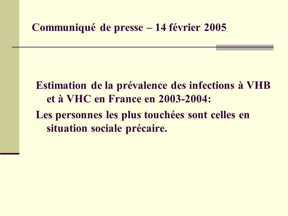 Communiqué de presse – 14 février 2005 Estimation de la prévalence des infections à VHB et à VHC en France en 2003-2004: Les personnes les plus touchées sont celles en situation sociale précaire.