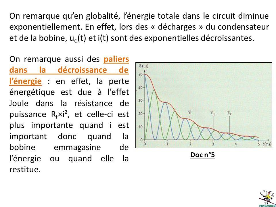 Doc n°5 On remarque aussi des paliers dans la décroissance de lénergie : en effet, la perte énergétique est due à leffet Joule dans la résistance de p