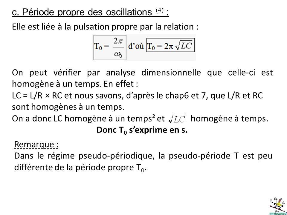 c. Période propre des oscillations (4) : Elle est liée à la pulsation propre par la relation : On peut vérifier par analyse dimensionnelle que celle-c