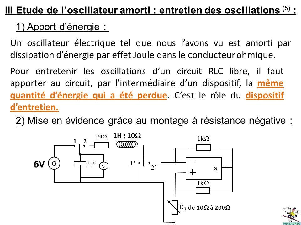 III Etude de loscillateur amorti : entretien des oscillations (5) : 1) Apport dénergie : Un oscillateur électrique tel que nous lavons vu est amorti p