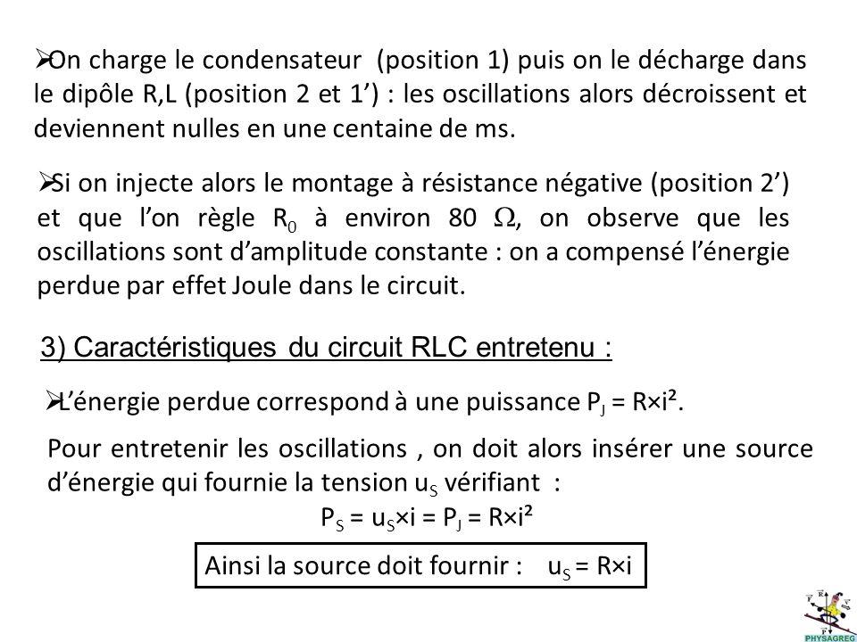On charge le condensateur (position 1) puis on le décharge dans le dipôle R,L (position 2 et 1) : les oscillations alors décroissent et deviennent nul