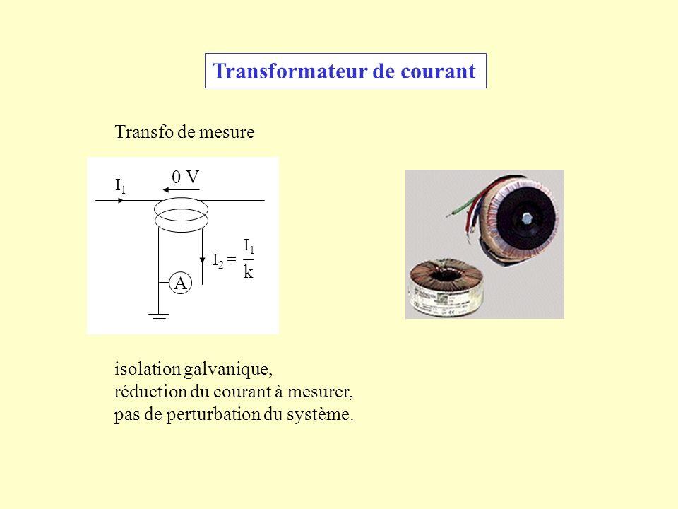 Transformateur de courant Transfo de mesure isolation galvanique, réduction du courant à mesurer, pas de perturbation du système. A 0 V I1I1 I 2 = I1I