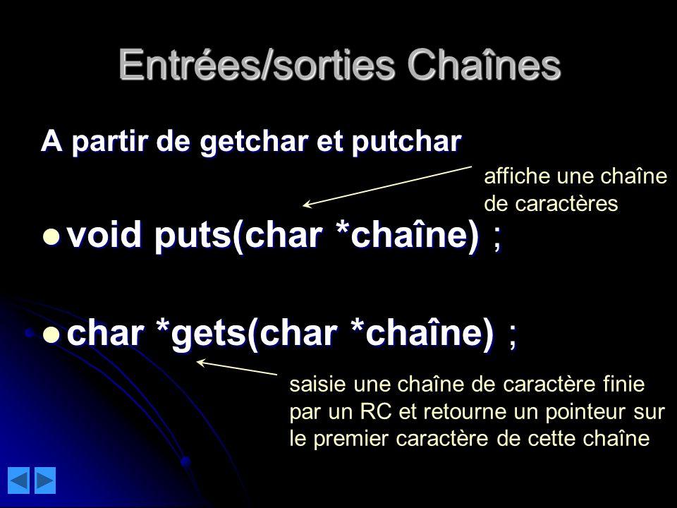 Entrées/sorties Chaînes A partir de getchar et putchar void puts(char *chaîne) ; void puts(char *chaîne) ; char *gets(char *chaîne) ; char *gets(char *chaîne) ; saisie une chaîne de caractère finie par un RC et retourne un pointeur sur le premier caractère de cette chaîne affiche une chaîne de caractères