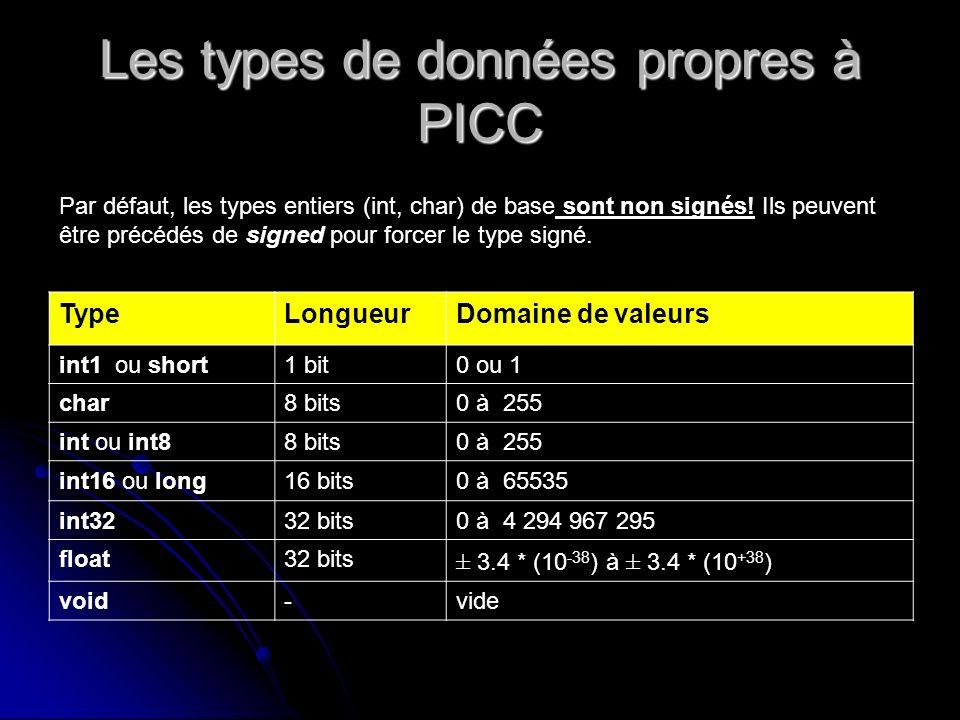 PRINTF printf(format, liste de valeurs) char a=10 ; float b=3.1412 printf( décimal %d, hexa %x, reel %f ,a,a,b) ; affichera : décimal 10, hexa A, reel 3,1412 sprintf(chaîne, format, liste de valeurs) écrit dans chaîne