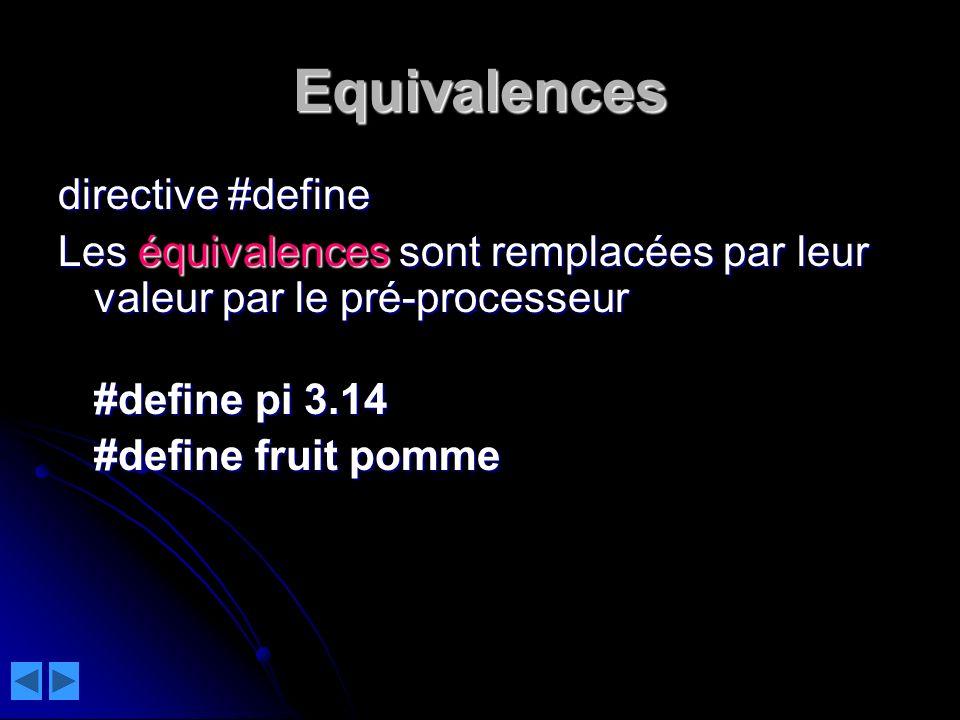 Equivalences directive #define Les équivalences sont remplacées par leur valeur par le pré-processeur #define pi 3.14 #define pi 3.14 #define fruit pomme #define fruit pomme