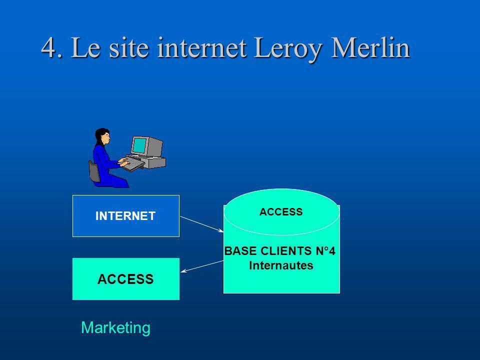 4. Le site internet Leroy Merlin BASE CLIENTS N°4 Internautes ACCESS INTERNET ACCESS Marketing