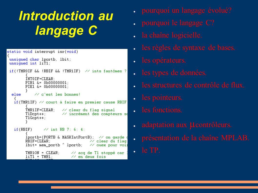 Introduction au langage C pourquoi un langage évolué? pourquoi le langage C? la chaîne logicielle. les règles de syntaxe de bases. les opérateurs. les