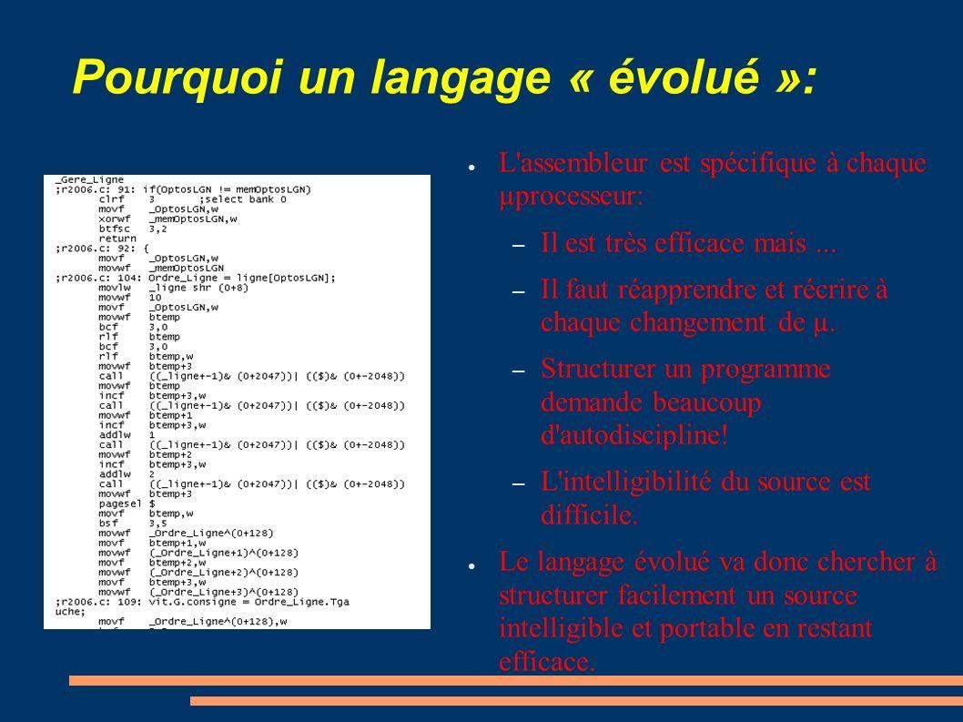 Pourquoi un langage « évolué »: L'assembleur est spécifique à chaque µprocesseur: – Il est très efficace mais... – Il faut réapprendre et récrire à ch