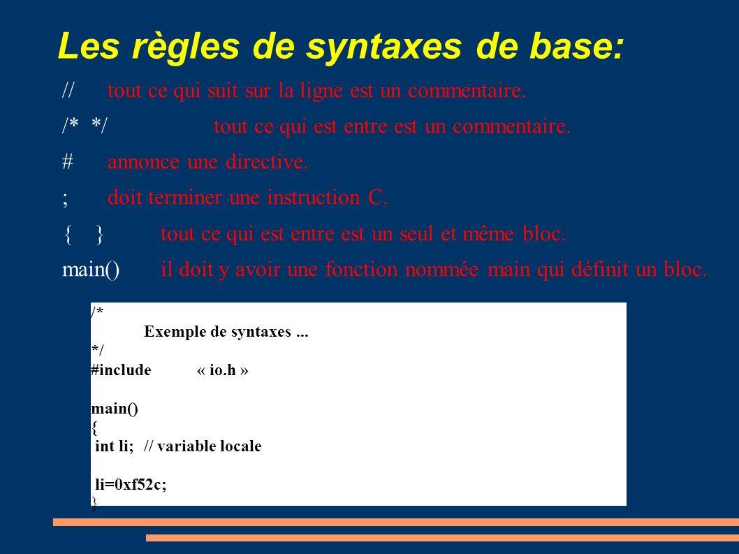 Les règles de syntaxes de base: //tout ce qui suit sur la ligne est un commentaire. /* */tout ce qui est entre est un commentaire. #annonce une direct